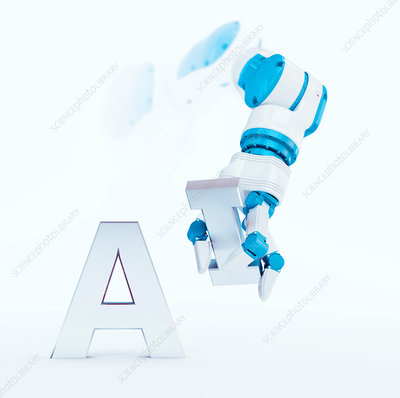 Robotic hand and the letters A and I, illustration