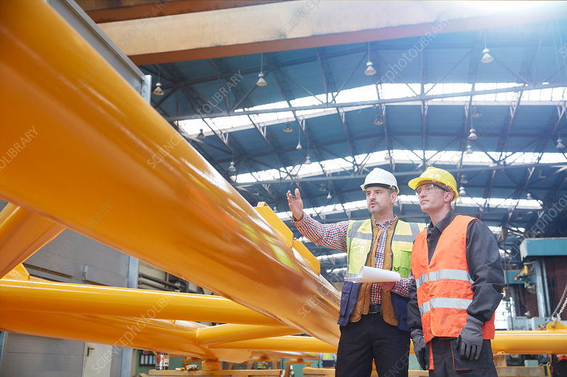 Male foreman explaining to worker
