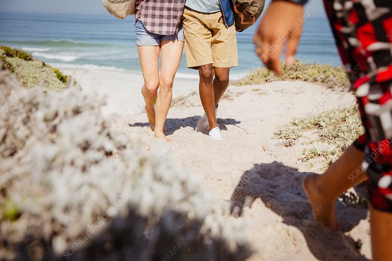 Legs of couple walking on beach path
