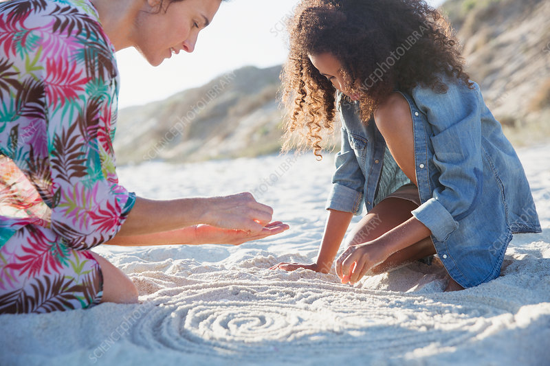 Mother and daughter drawing spirals in sand