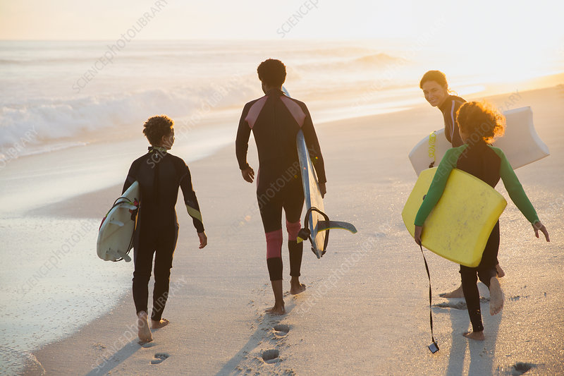 Multi-ethnic family and boogie boards