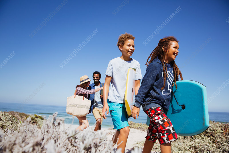 Family walking with boogie boards path