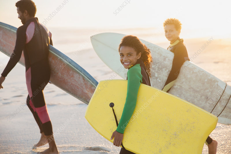 Portrait family and boogie board
