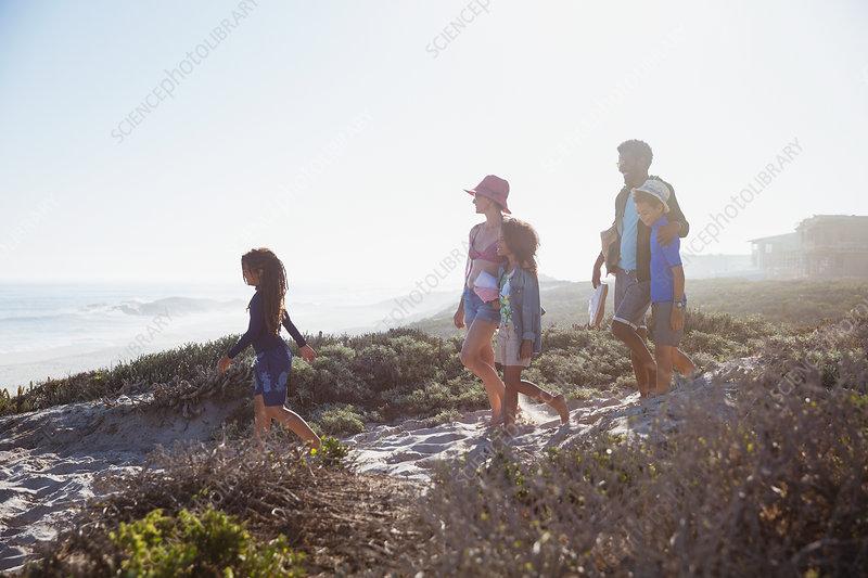 Family walking on sunny summer beach path