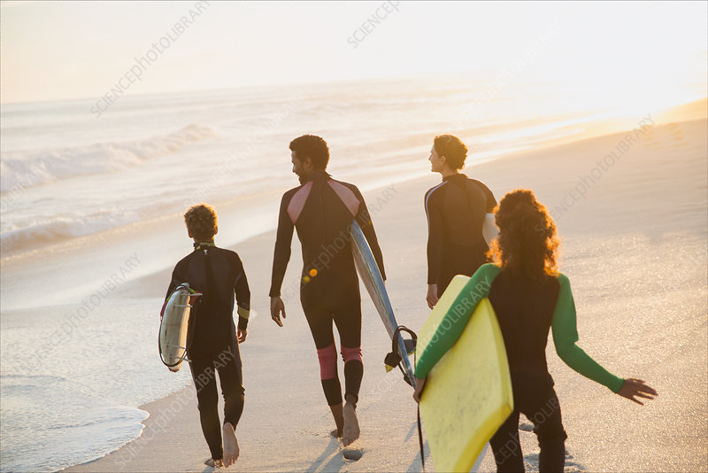 Family walking, and boogie board