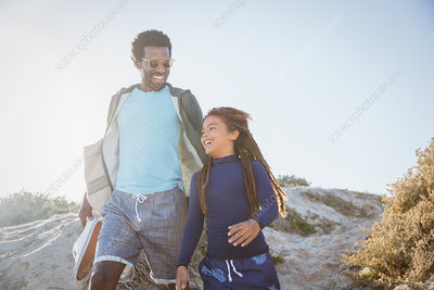 Father and daughter walking path