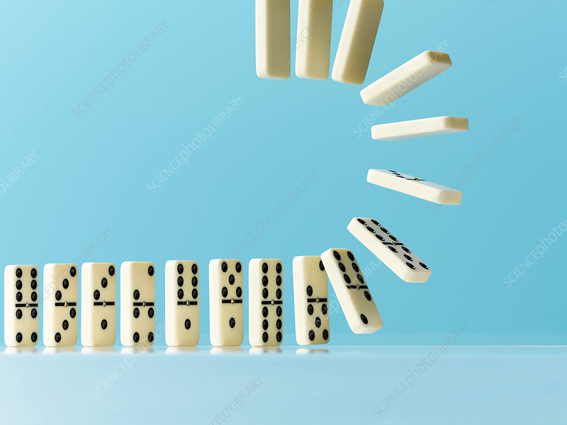 Flipping dominos on blue background