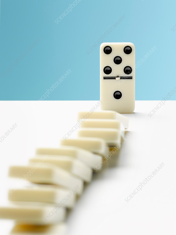 Domino toppling row of dominos