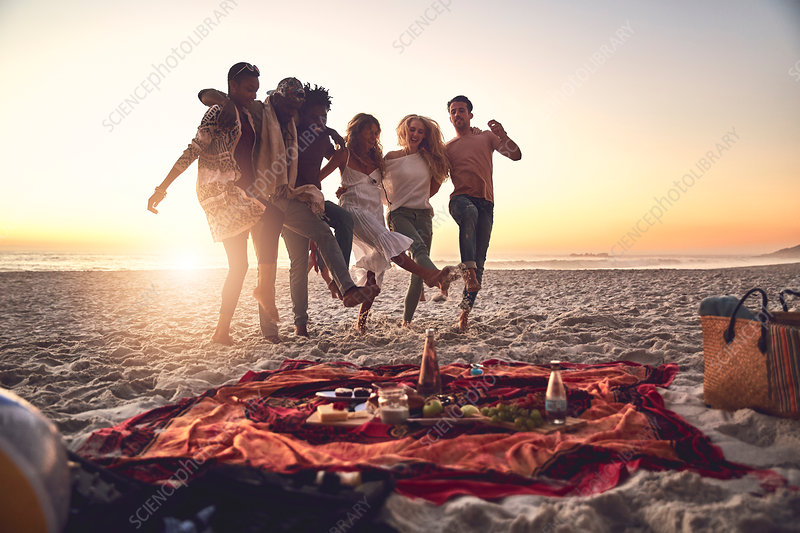 Playful young friends kicking, enjoying picnic