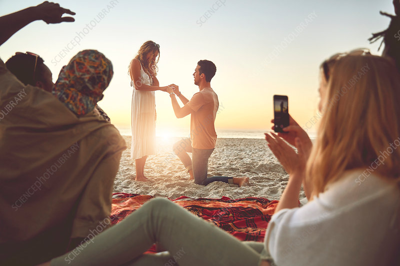 Young man proposing to woman with friends