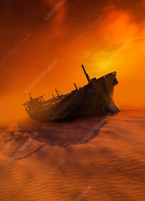 Shipwreck in desert, illustration