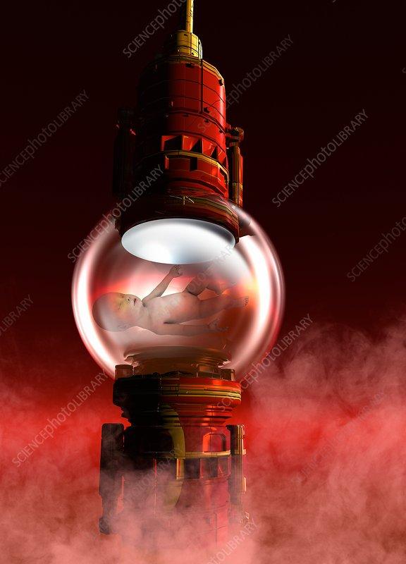 Baby inside glass ball, illustration