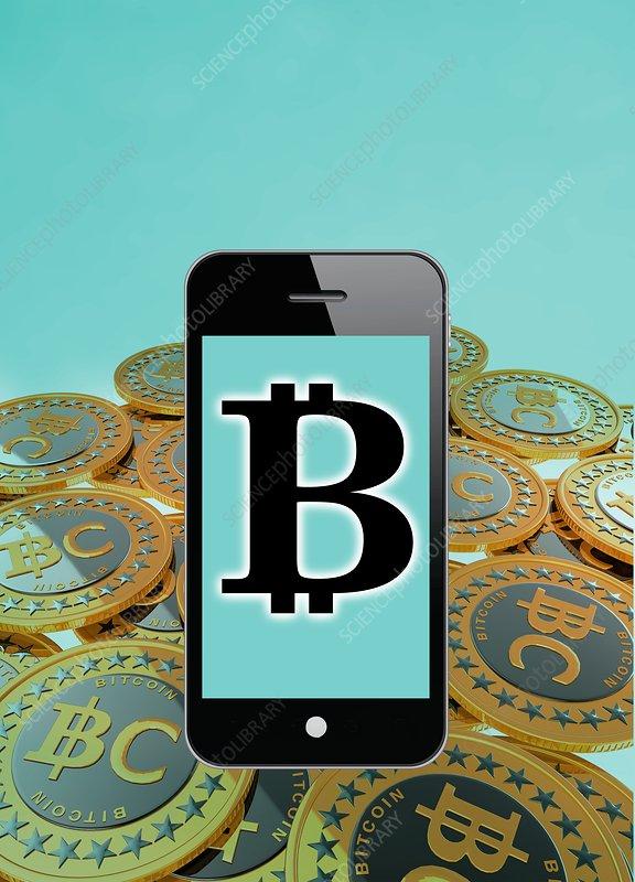 Bitcoin symbol on smartphone, illustration