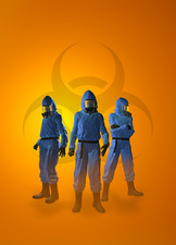 Three figures in radiation suits, illustration