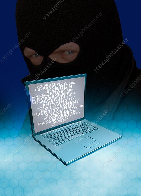 Laptop and computer hacker, illustration