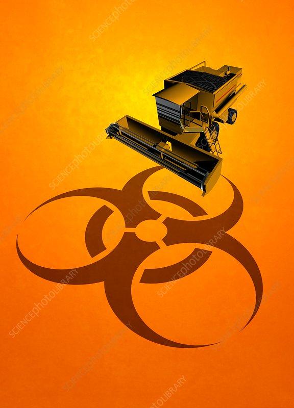Machinery and biohazard symbol, illustration