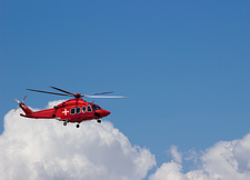 Helicopter in blue sky with cloud, illustration
