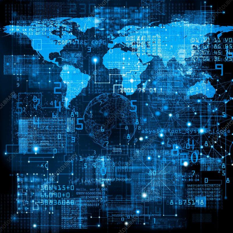 Global data network, illustration