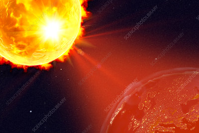 Solar flare hitting Earth, illustration