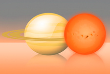 Red dwarf star compared to Saturn, illustration