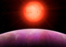 Red dwarf NGTS-1 and its planet, illustration