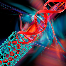 DNA molecule and nanotube, illustration