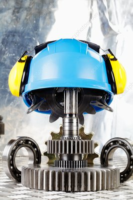 Hardhat with industrial gears