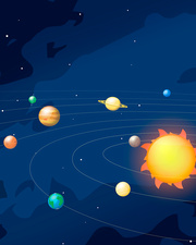 Orbits of planets in the Solar System, illustration