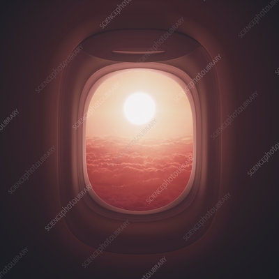 View of sunset through aeroplane window, illustration