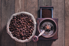 Coffee beans and grinder view