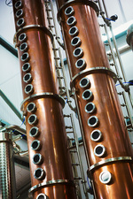 Copper distillery chambers in a brewery