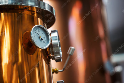 Gauge on a copper brewery kettle