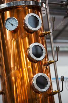 Gauge on a copper fermentation tank