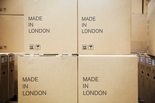 Cardboard boxes labelled Made in London