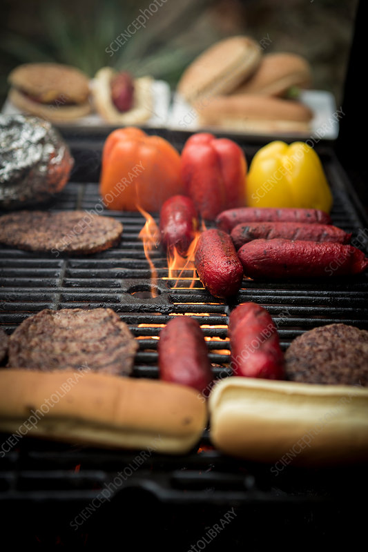 Food grilling on a barbecue