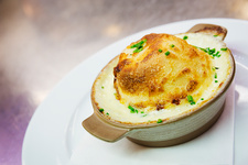 Cheese souffle in a ramekin