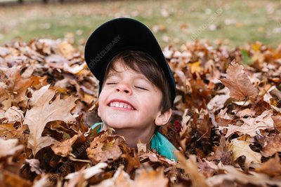 Boy in a heap of autumn leaves