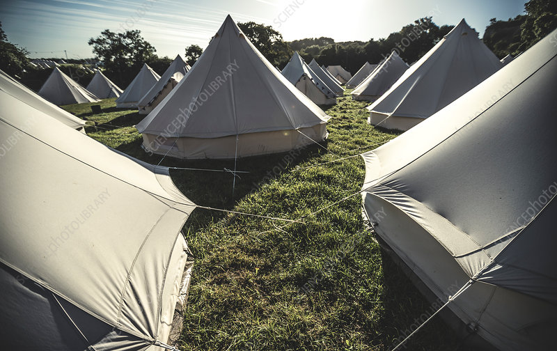 Glamping bell canvas tents at campsite