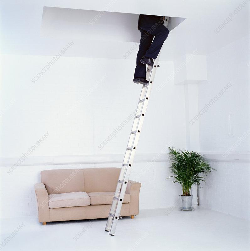 Businessman climbing up a ladder
