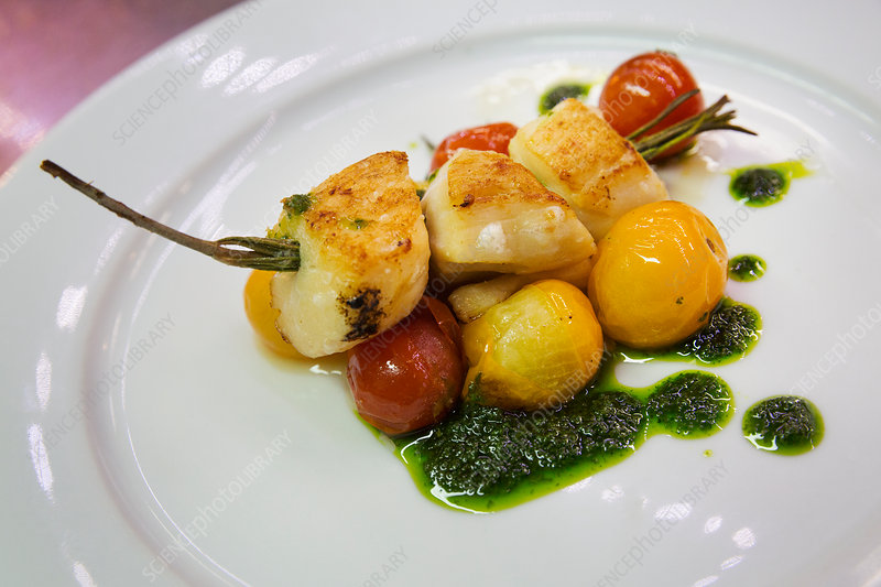 Plate with grilled scallops and tomatoes