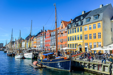Nyhavn, promenade and moored ships