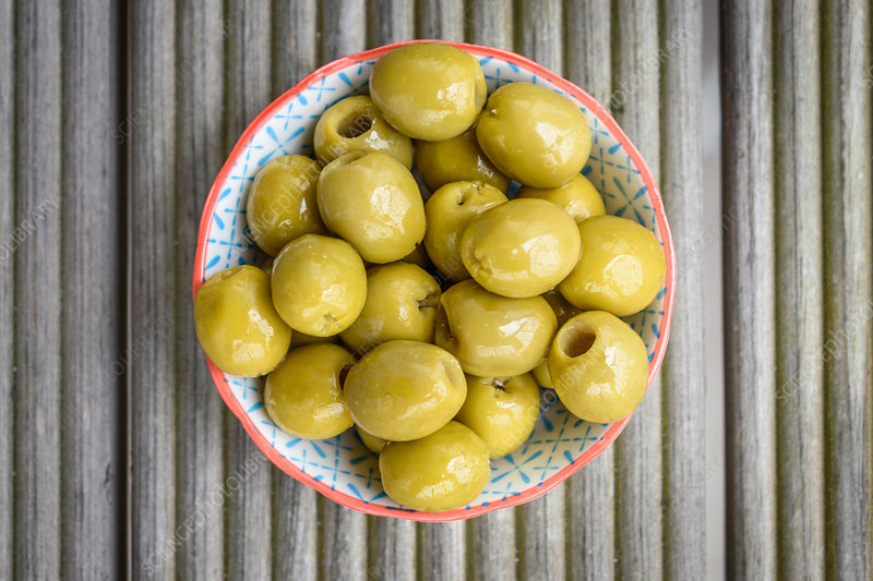 Close up of bowl of green olives