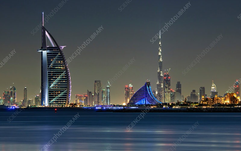 Cityscape of Dubai, landscape at night
