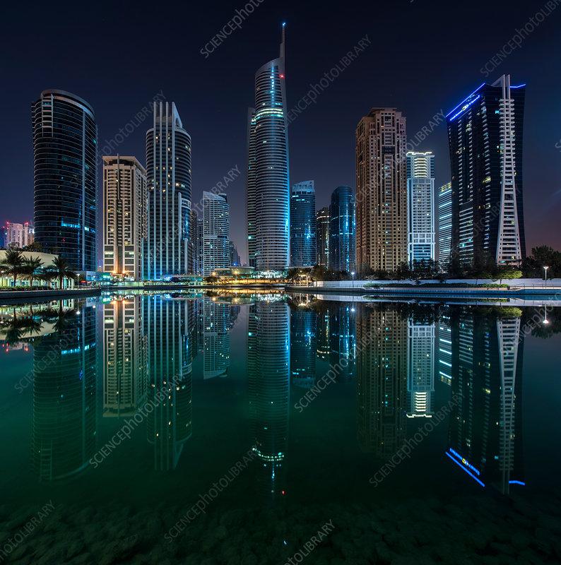 Cityscape of Dubai at night, waterfront