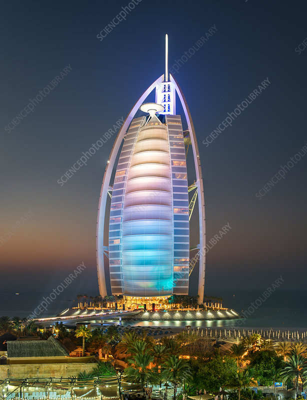 Burj Al Arab skyscraper in Dubai at dusk