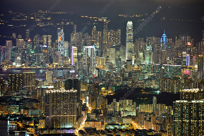 Hong Kong cityscape and skyscrapers, dusk
