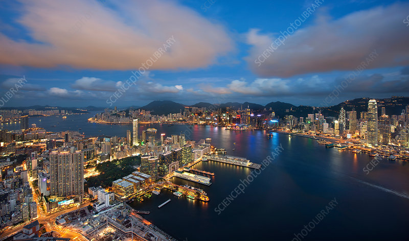 Aerial view of Hong Kong at dusk