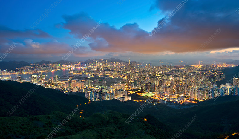 Kowloon and Hong Kong city at dusk