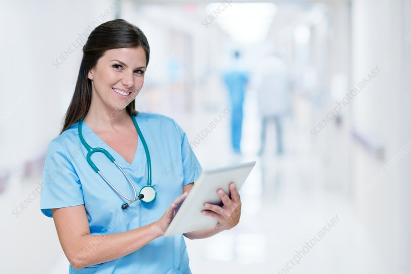 Female doctor with digital tablet