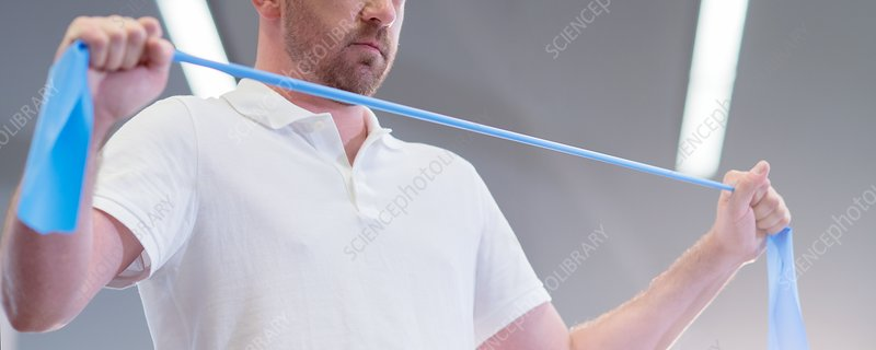 Man using resistance band